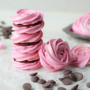 Raspberry meringue sandwiches that look like rose petals! Too cute!