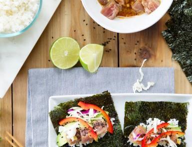 homemade tuna nori hand rolls