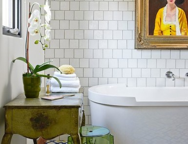 bold floors bring this whole bathroom together