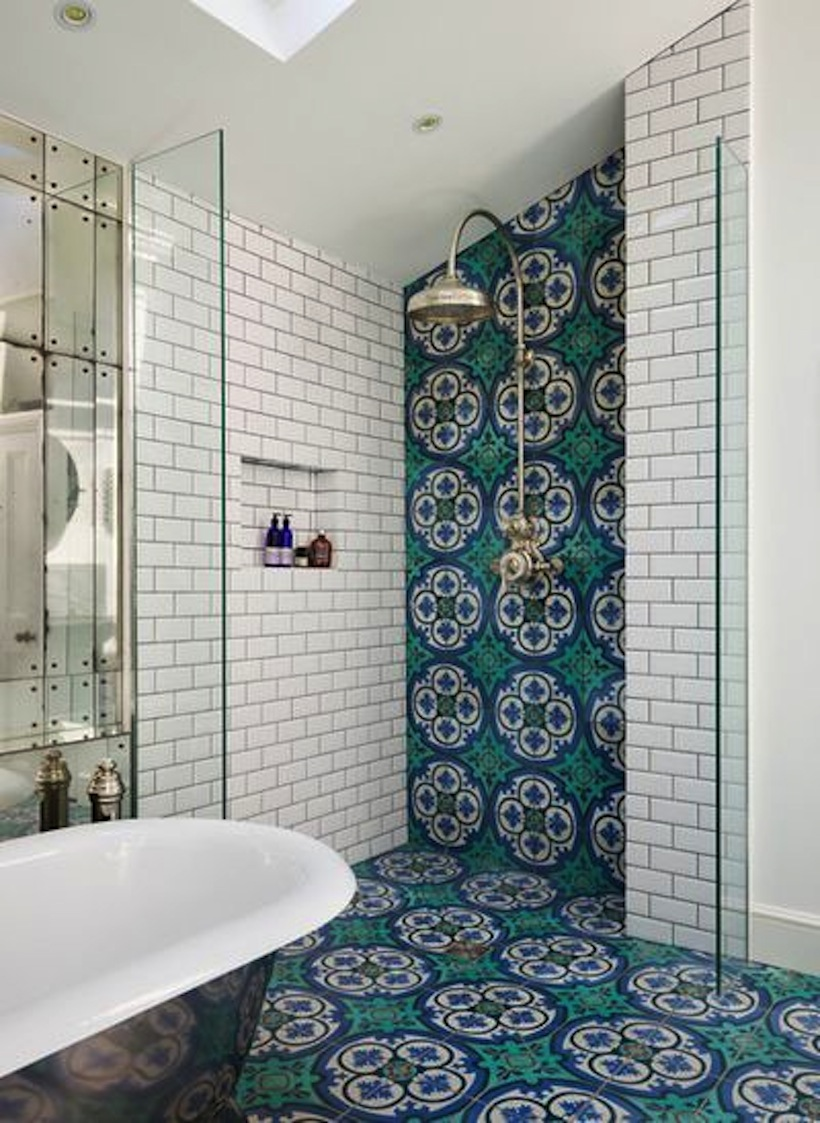 patterned tiles add a great pop of color