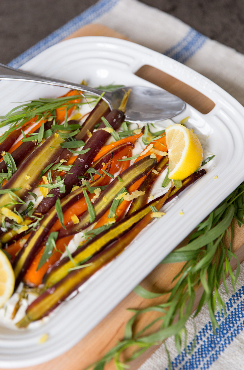 Honey Roasted Carrots with Herbed Boursin Cheese... seriously delicious!