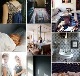A dusty indigo and teal mood board