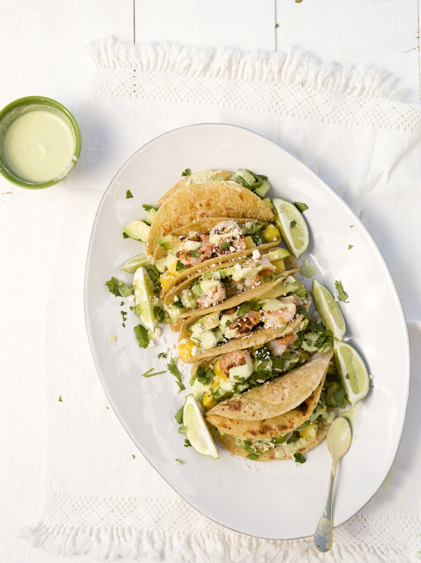 Cucumber & Pineapple Shrimp Tacos
