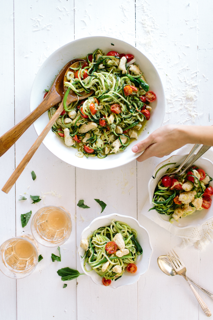 """Zucchini Noodle Pesto Pasta - the easiest most delicious low-carb """"pasta"""" I've ever had!"""