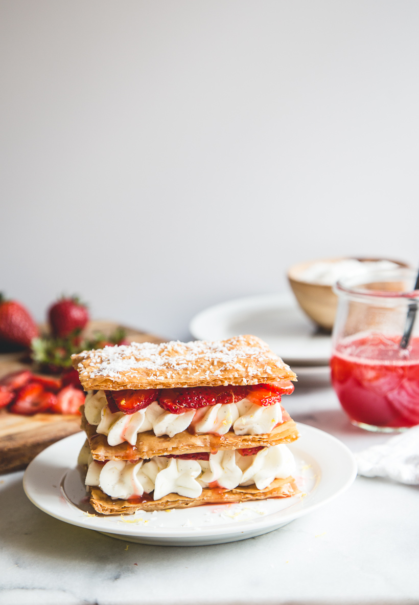 Strawberry Lemon and Phyllo Napoleans
