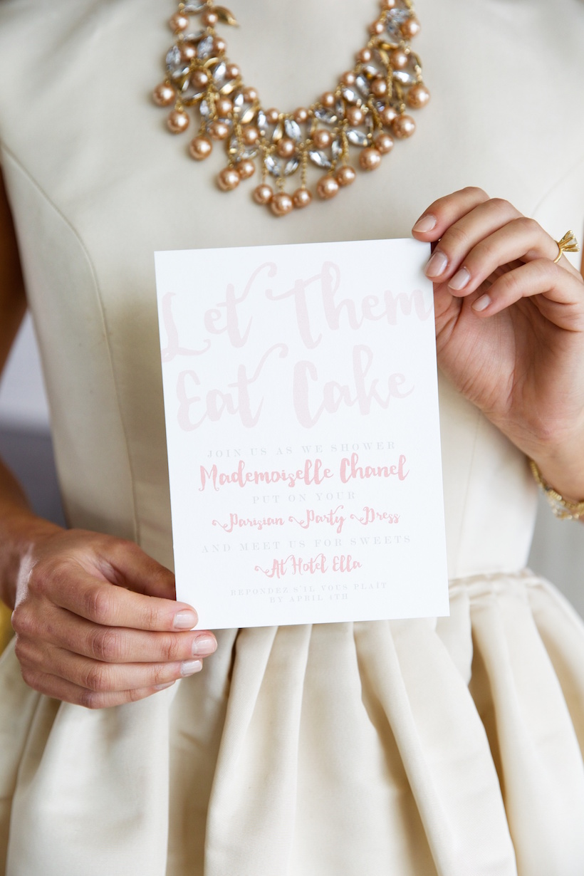 invitation to a french-themed bridal shower