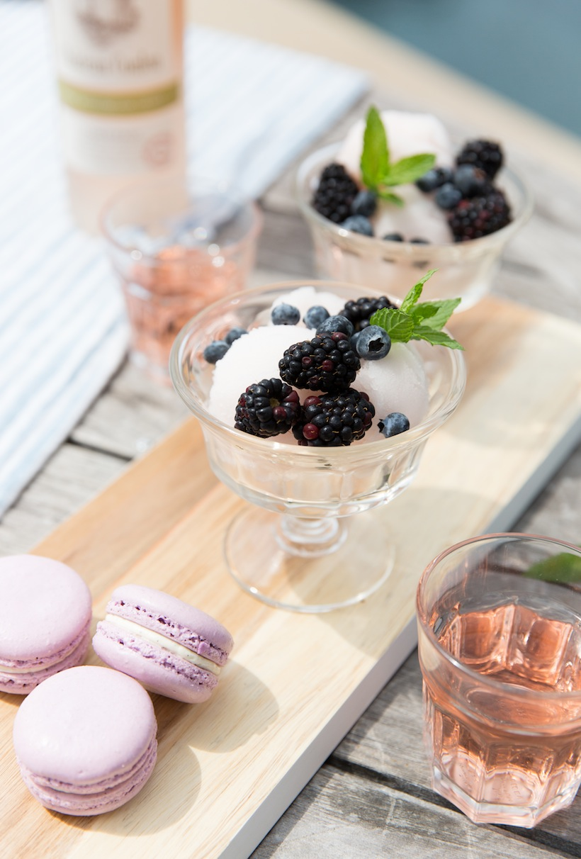 Treat guests to a lavender flavored sorbet to keep dessert light