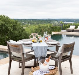 Setting up a simple tablescape makes outdoor dining an amazing experience