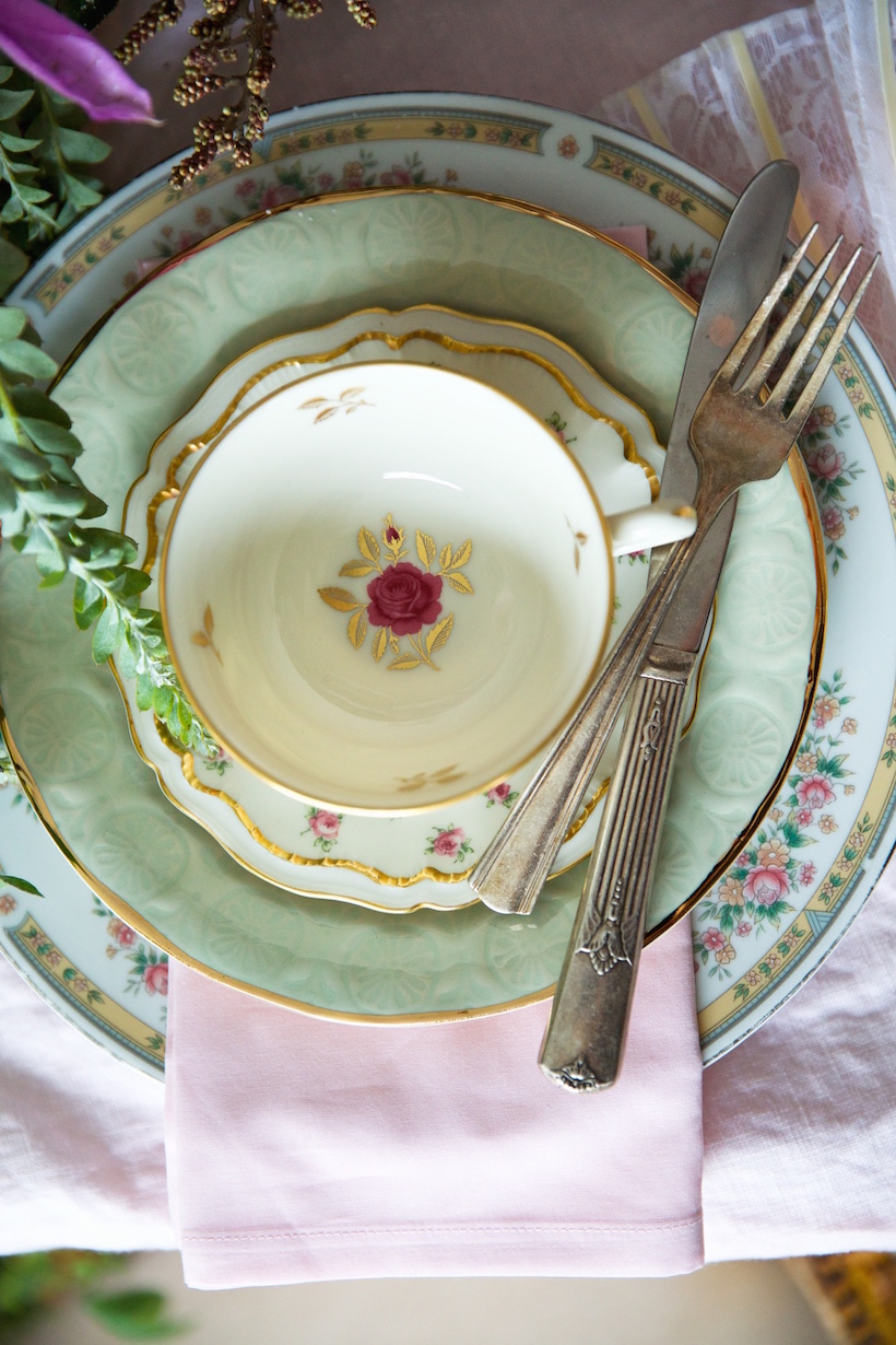 mix and match china for a whimsical french themed table