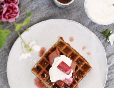 Easy Homemade Overnight Buckwheat Waffles With Roasted Rhubarb Compote