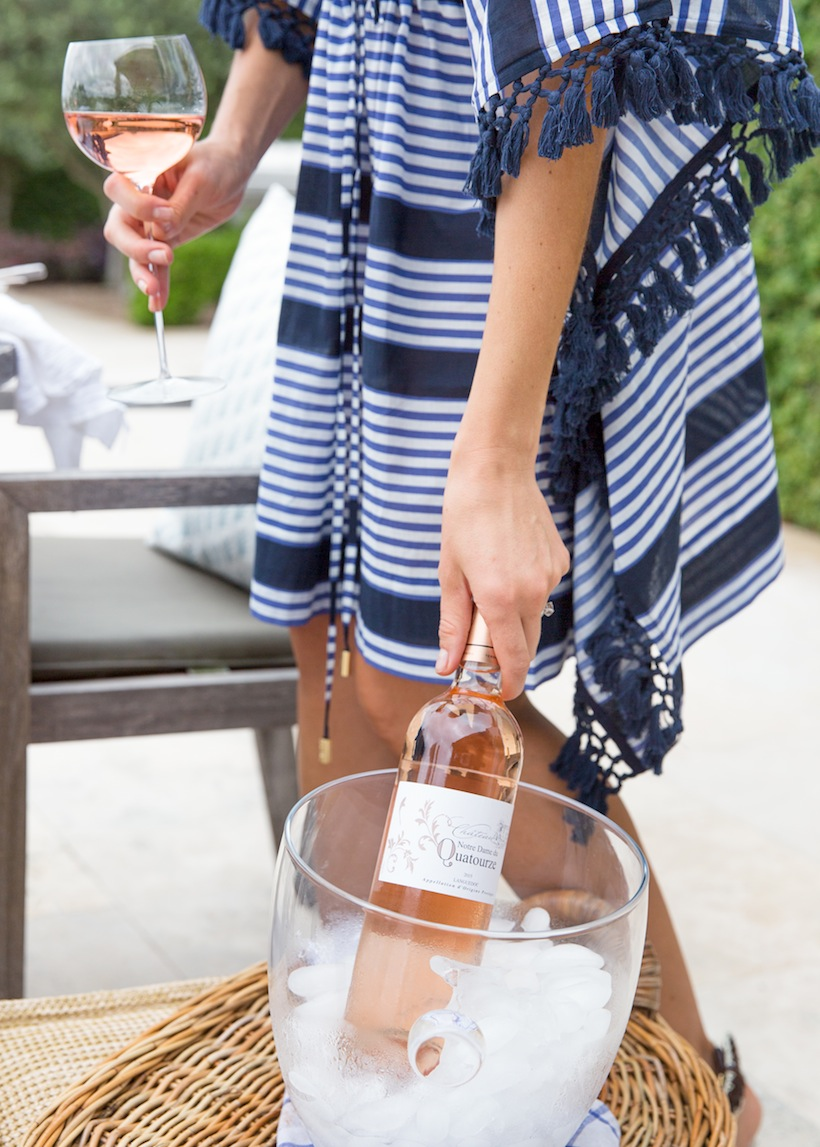 Setting up a glass bowl with ice will keep your rosé chilled right next to the table