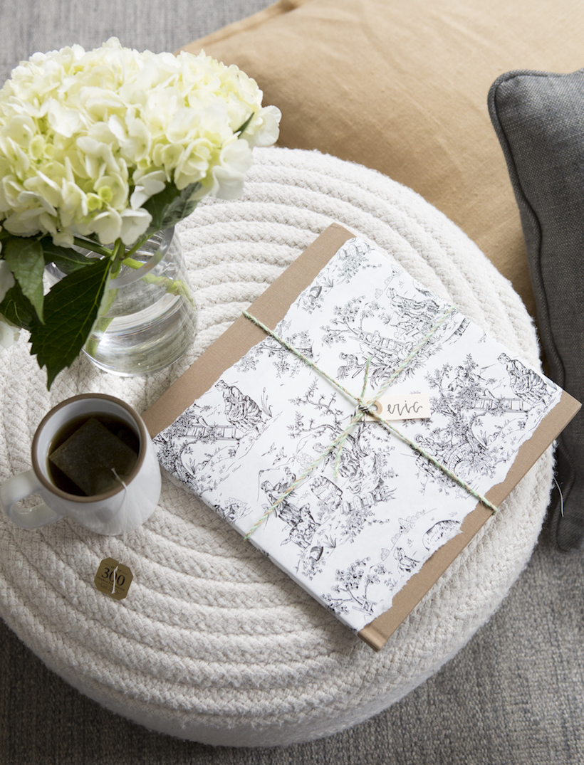 toile wrapping paper with twine