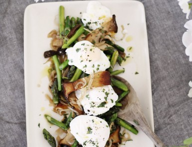 Asparagus and Mushroom Ragout With Poached Eggs