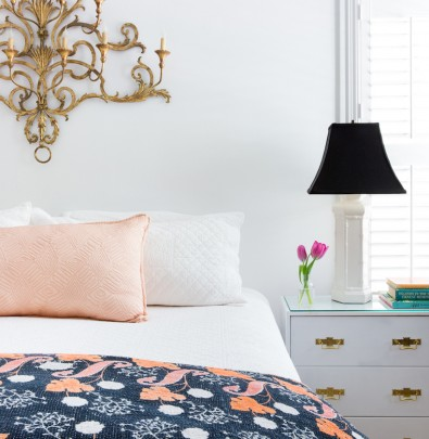 Bright Colorful Bedroom with Kantha Quilt