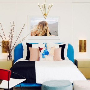 Bold modern decor and home accessories for a one bedroom using primary colors