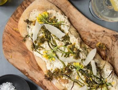 a ricotta, garlic, and broccoli rabe flatbread