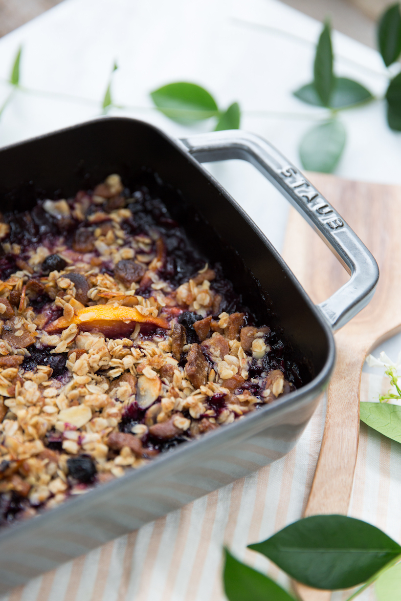 Peach & Blueberry Crumble with Gingersnap Crust - Camille Styles