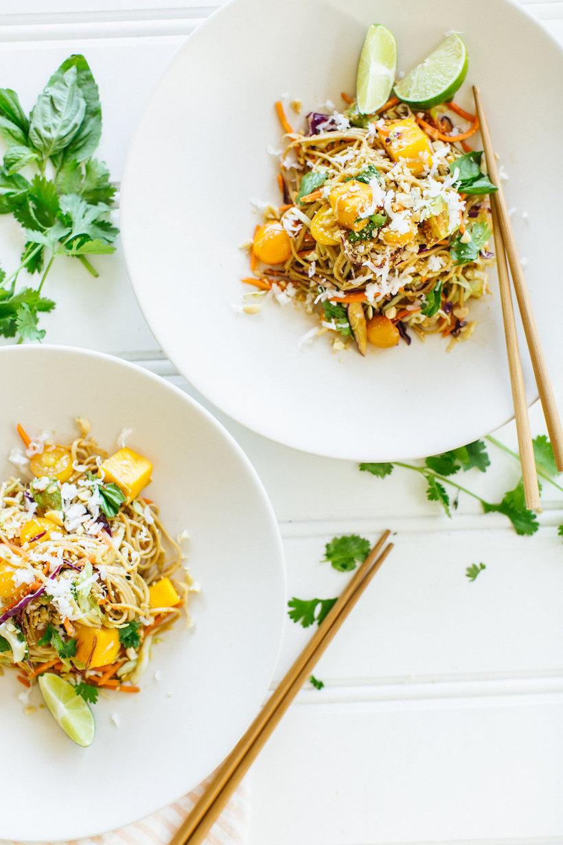 Easy weekend dinner! // Coconut Mango Soba Salad // Vegetarian + Gluten Free