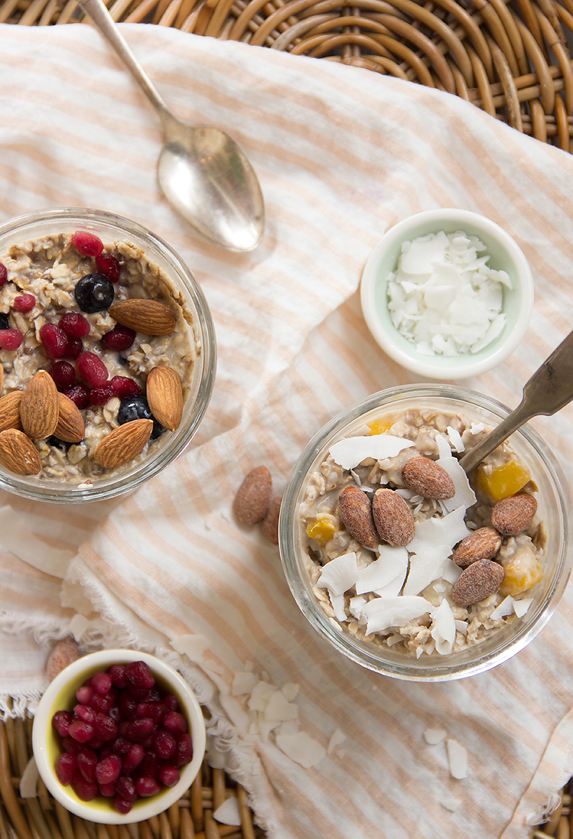 My favorite overnight oats recipes -- Tropical Paradise & Blueberry Muffin