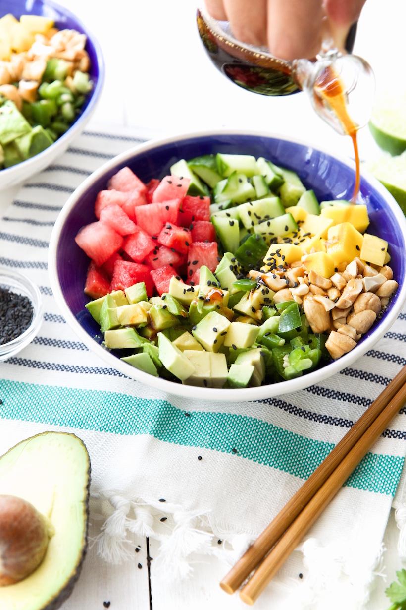 ahi tuna and watermelon poké bowls