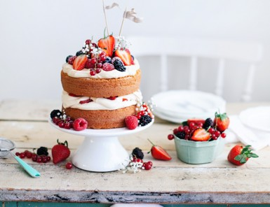 red white blue naked cake
