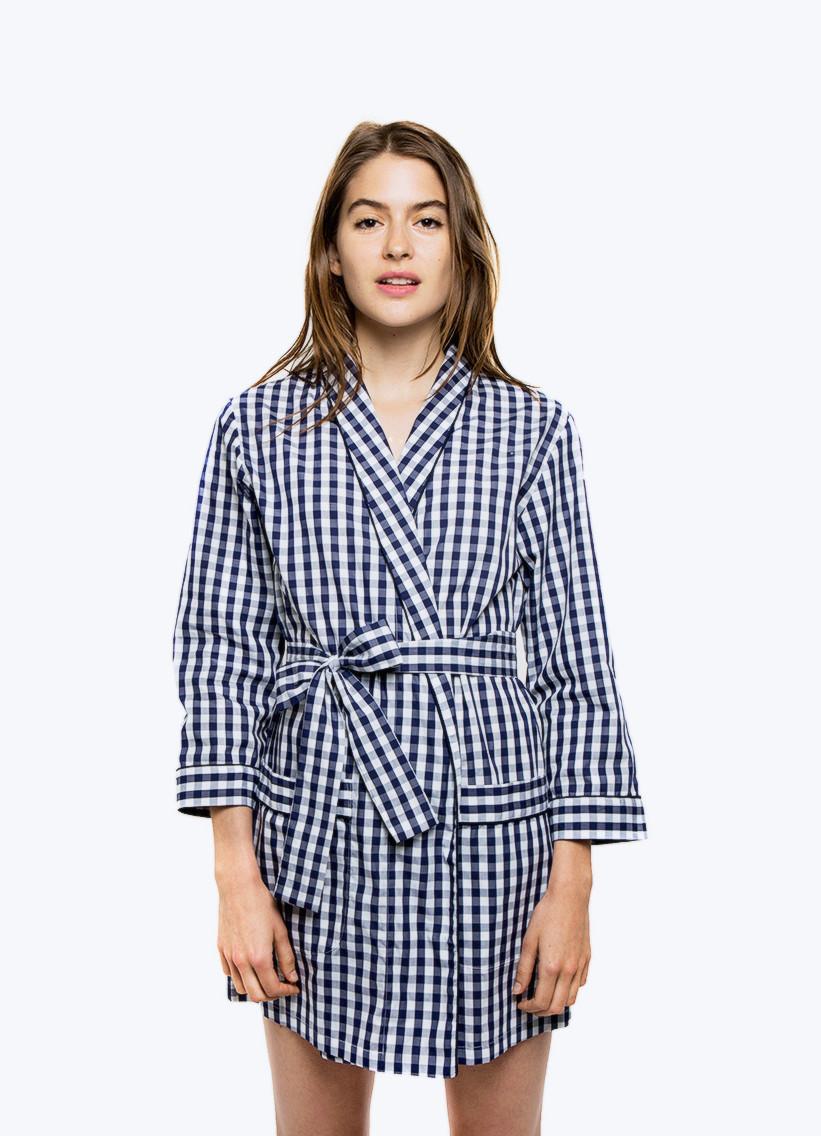navy and white check robe