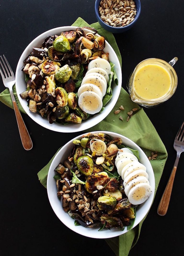 brussels sprouts eggplant bowl