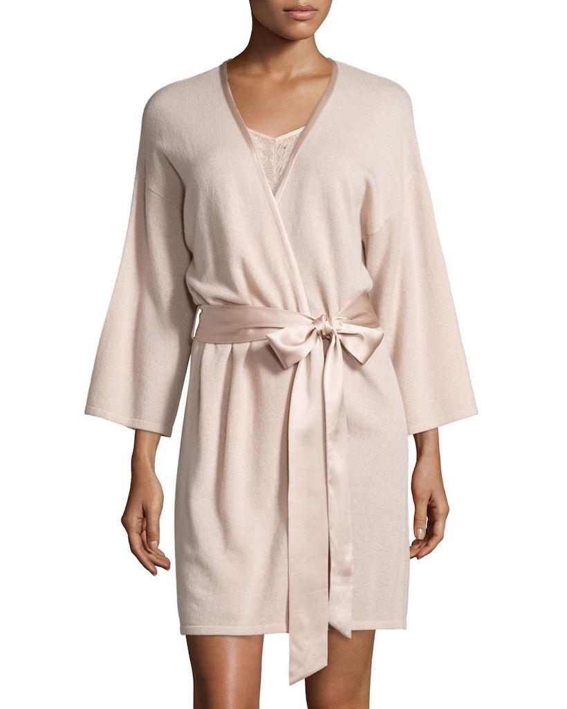 blush colored cashmere robe