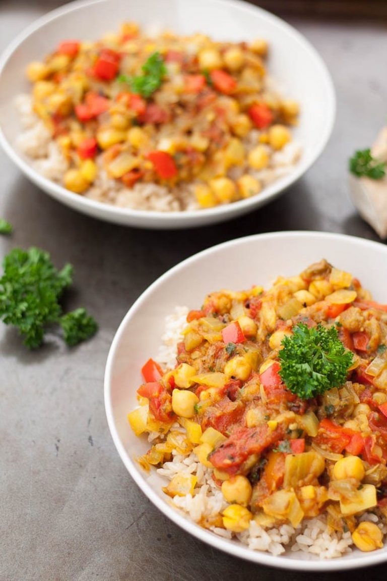 eggplant curry and chickpeas