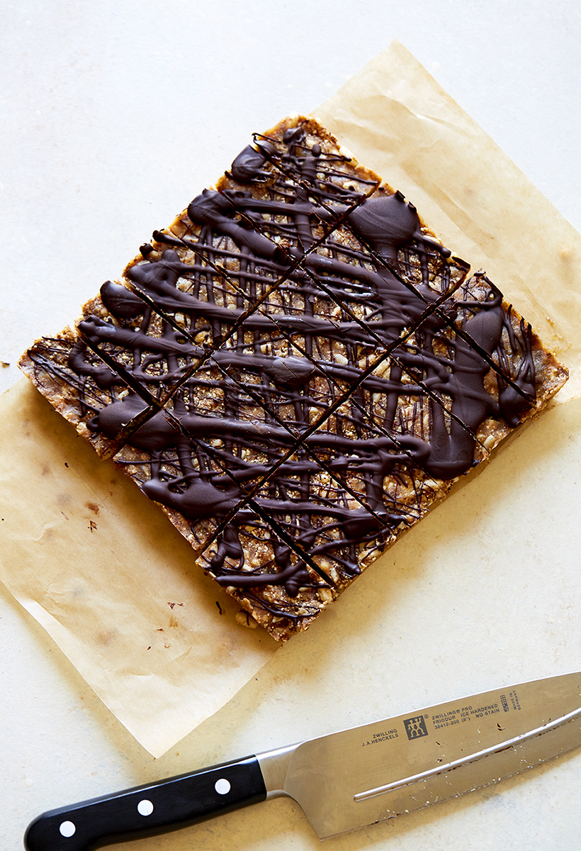 Puffed Brown Rice Bars with Tahini & Bittersweet Chocolate - and they're Vegan + Gluten-Free!