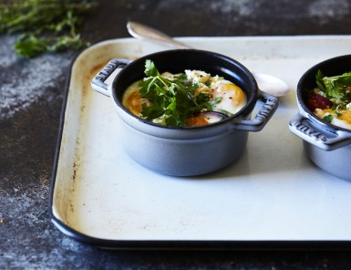 Baked Eggs with Heirloom Tomatoes, Herbs & Feta - gluten free!