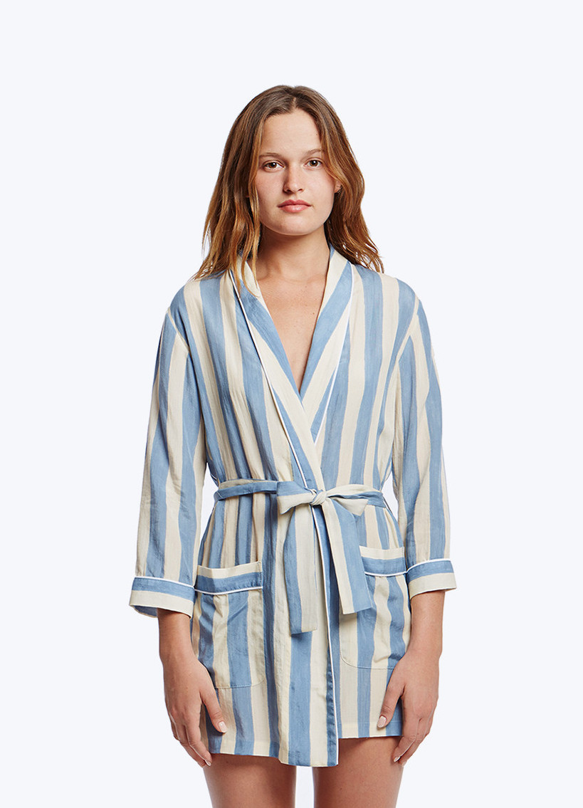 blue and white striped robe