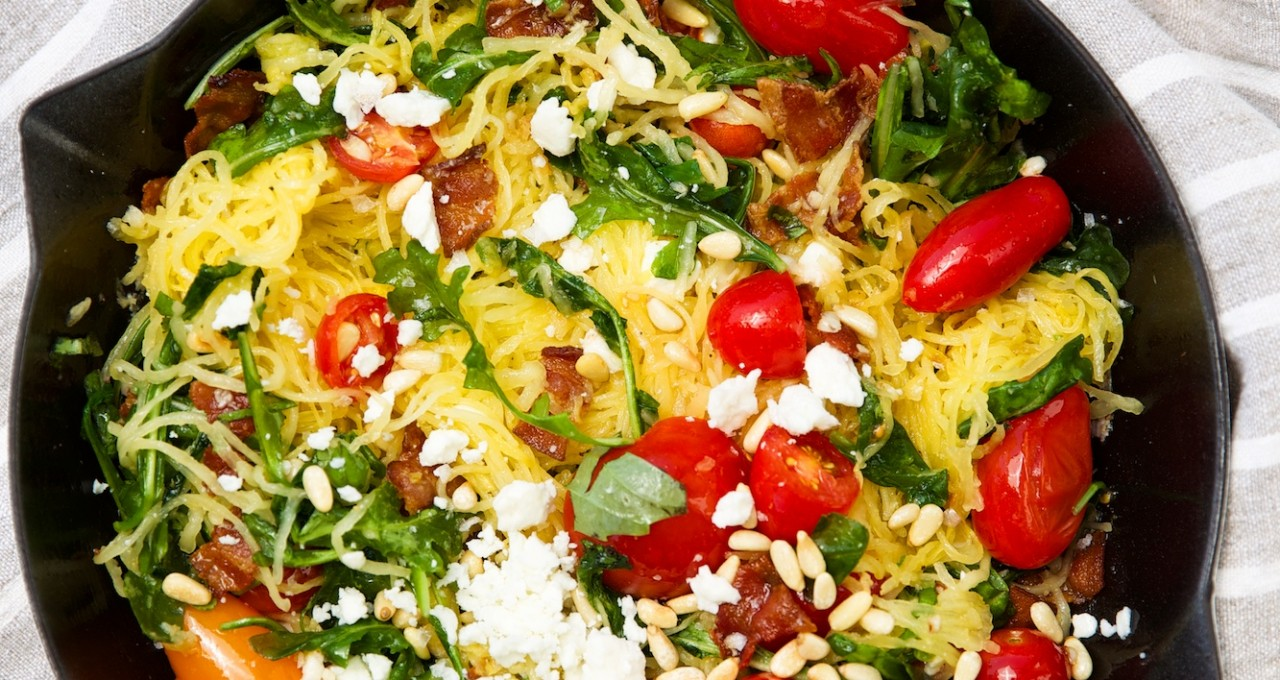 "spaghetti squash ""pasta"" with bacon, spinach, & cherry tomatoes"