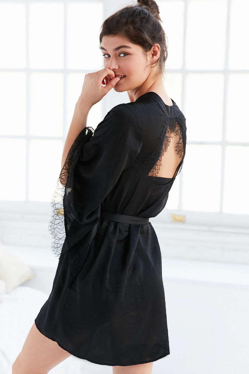 black lace cutout robe