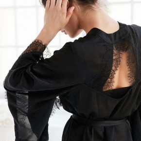 cutout lace back robe