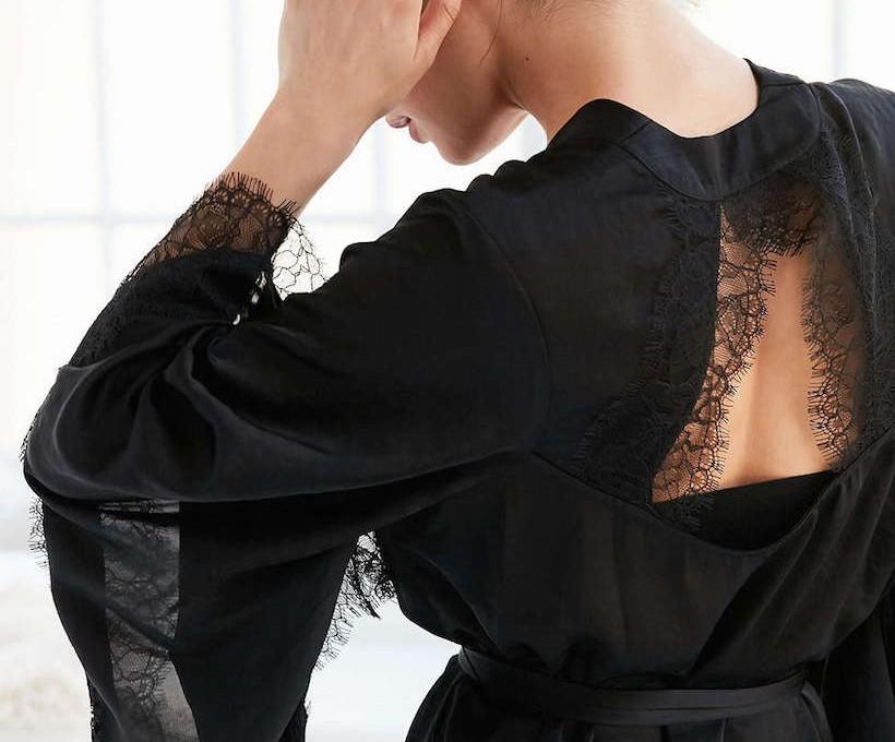 cutout lace back robe