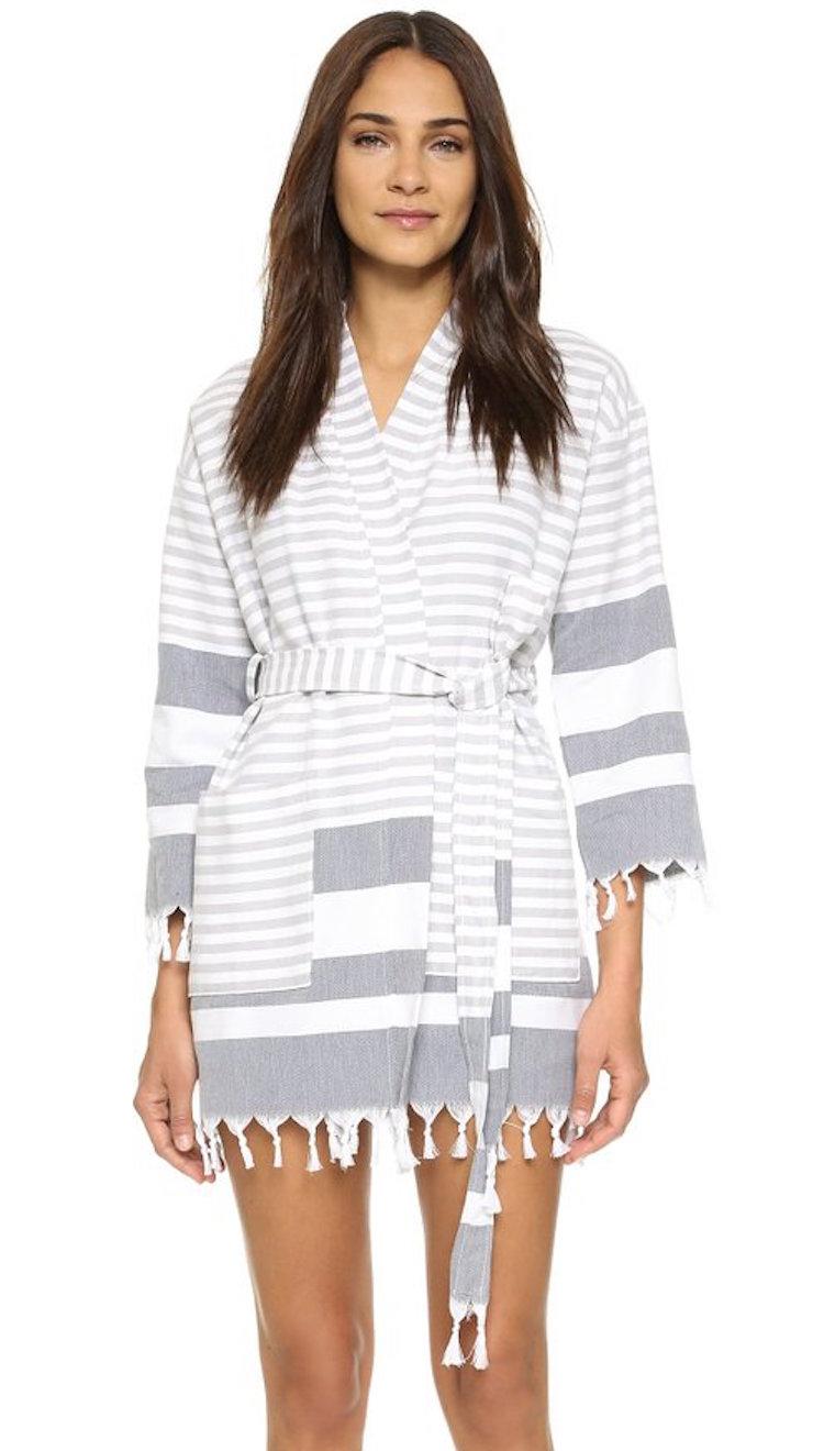 turkish towel style striped robe