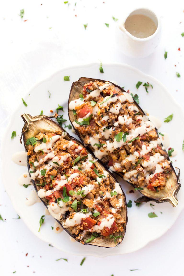 stuffed eggplant with tahini sauce