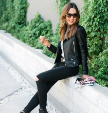 how to style a black leather moto jacket