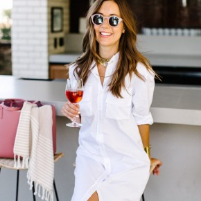 rosé and round sunnies at poolside bar, south congress hotel, austin