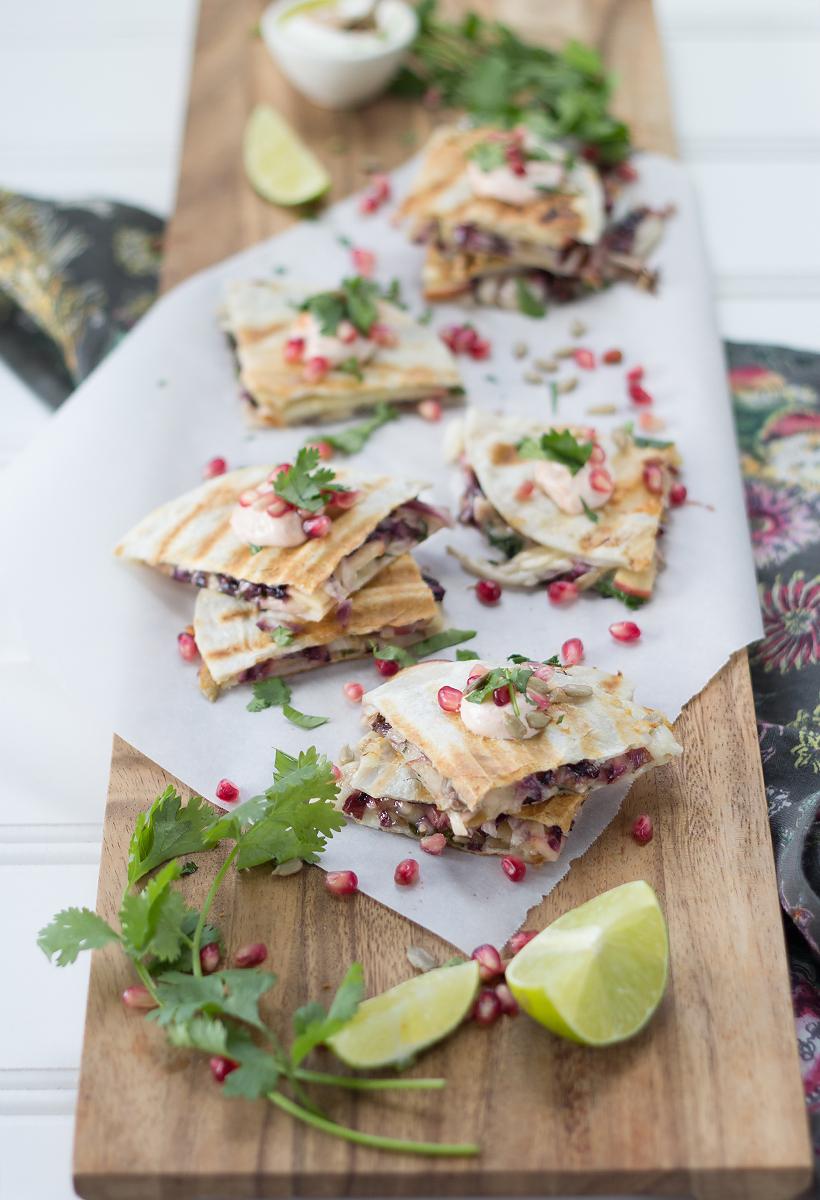 Fall Quesadillas with Apple, Raddichio, & Pomegranate