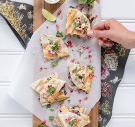 Fall Quesadillas with Apple, Raddichio, & Pomegranate