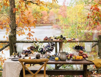 fall tabletop with pumpkins