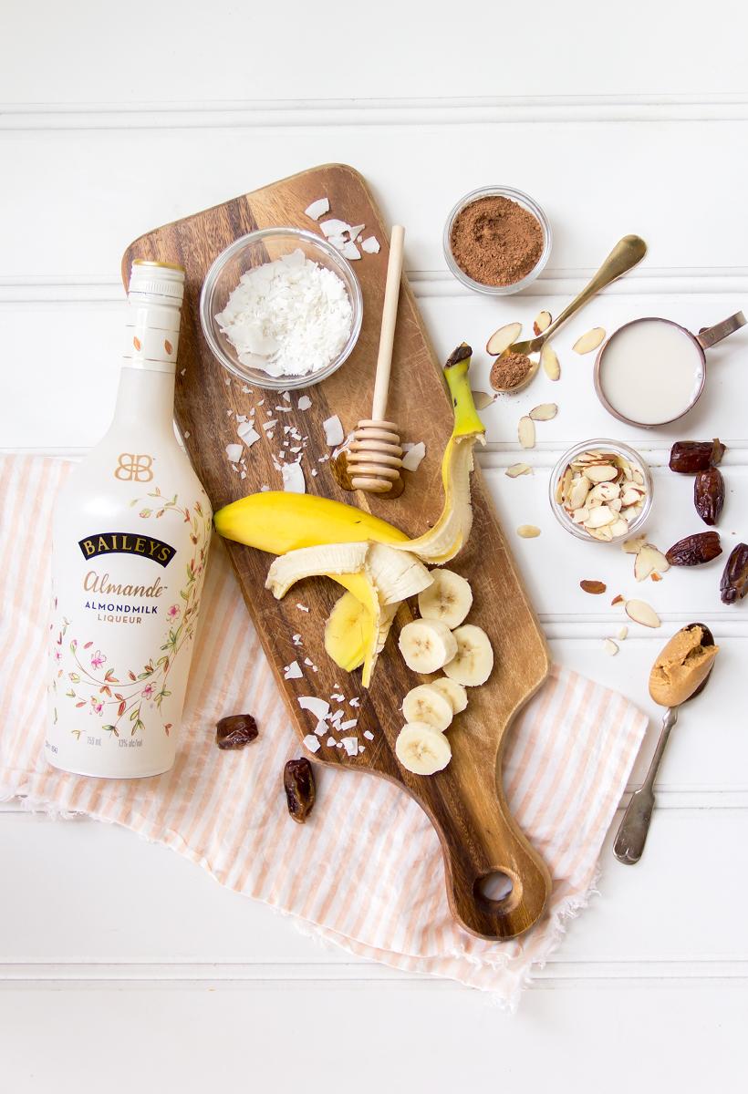 layered chocolate banana date shake