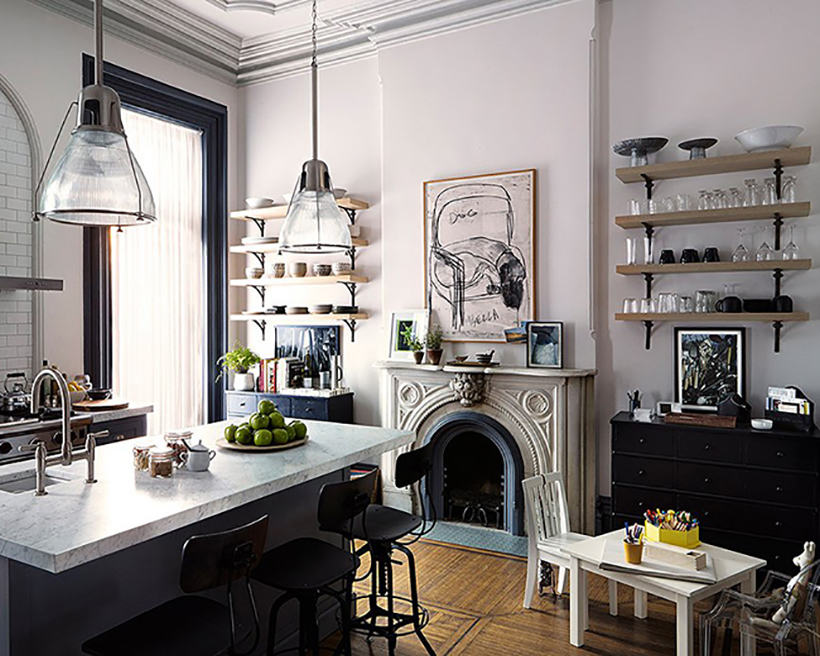 Hang industrial style pendant shades.