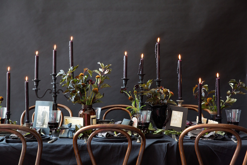 An All Black Halloween Table