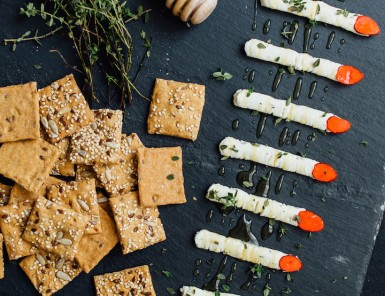 creepy boursin cheese witch fingers appetizer for halloween