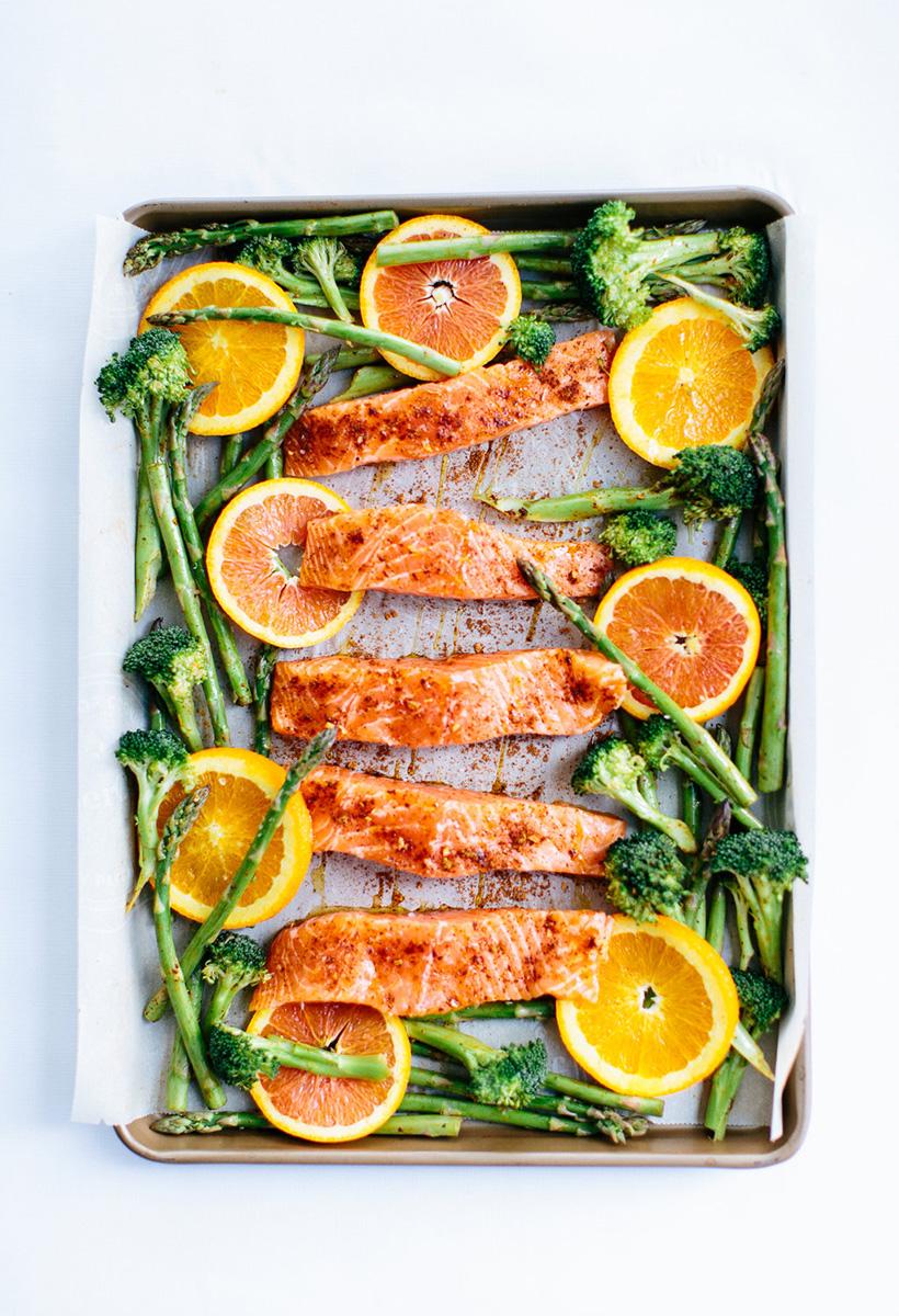 Sheet-Pan Roasted Chili-Orange Salmon with Garlic & Green Veggies