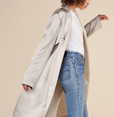 the francoise coat in champagne from reformation