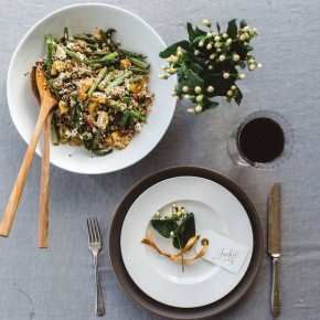 Asparagus, Quinoa, & Rice Salad with Goat Cheese & Maple-Tahini Dressing // Love this Vegetarian Thanksgiving Side Dish!